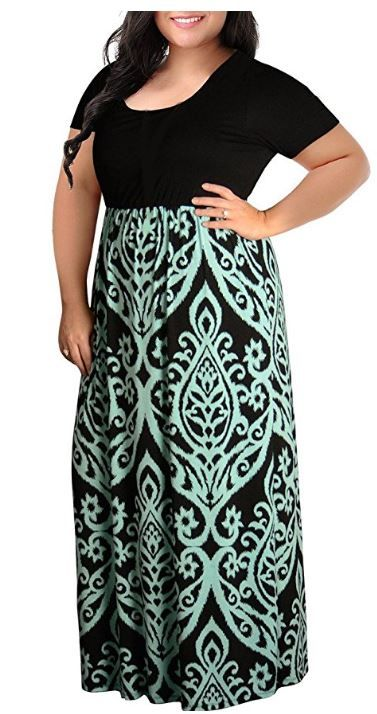 74d00dadcbe Amazon  Women Plus Size Maxi Dresses Chevron Print Summer Short Sleeve  Casual Long Dress for  15.39 (Reg   21.99) (As of 6 20 2018 12 AM CDT)