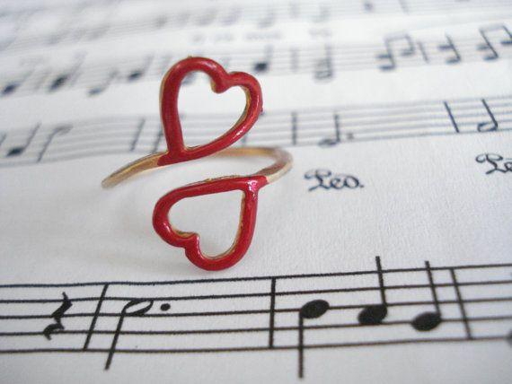 Gold heart ring Double heart ring Open heart ring Heart by Poppyg