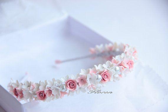Headband Dream white bridal hair wreath by JewelryFloren on Etsy, $110.00