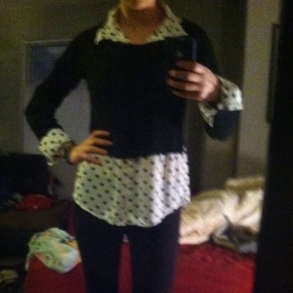 Polka dot shirt with crop sweater Polkas dot button up shirt with black cropped attached sweater. Super cute for work! Worn once. Love but it's not to work dress code! merona Tops