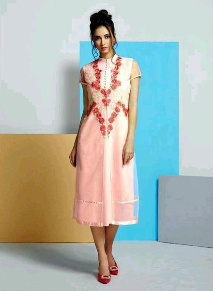 Partywear Baby Pink Net And Georgette Kurtis #kurtis&kurtas #designer kurtis available at ladyindia.com