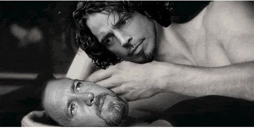 Image result for chris cornell and eddie vedder i'm going hungry gifs