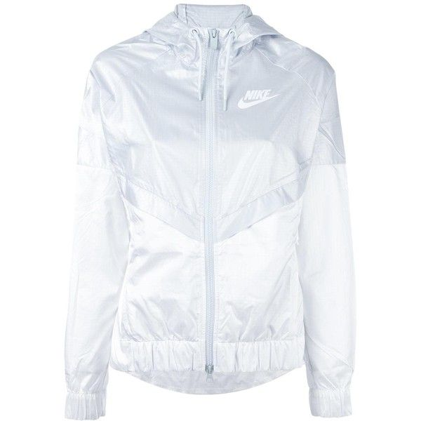 Nike colour block windbreaker jacket ($74) ❤ liked on Polyvore featuring activewear, activewear jackets, white, nike, logo sportswear, nike sportswear and nike activewear