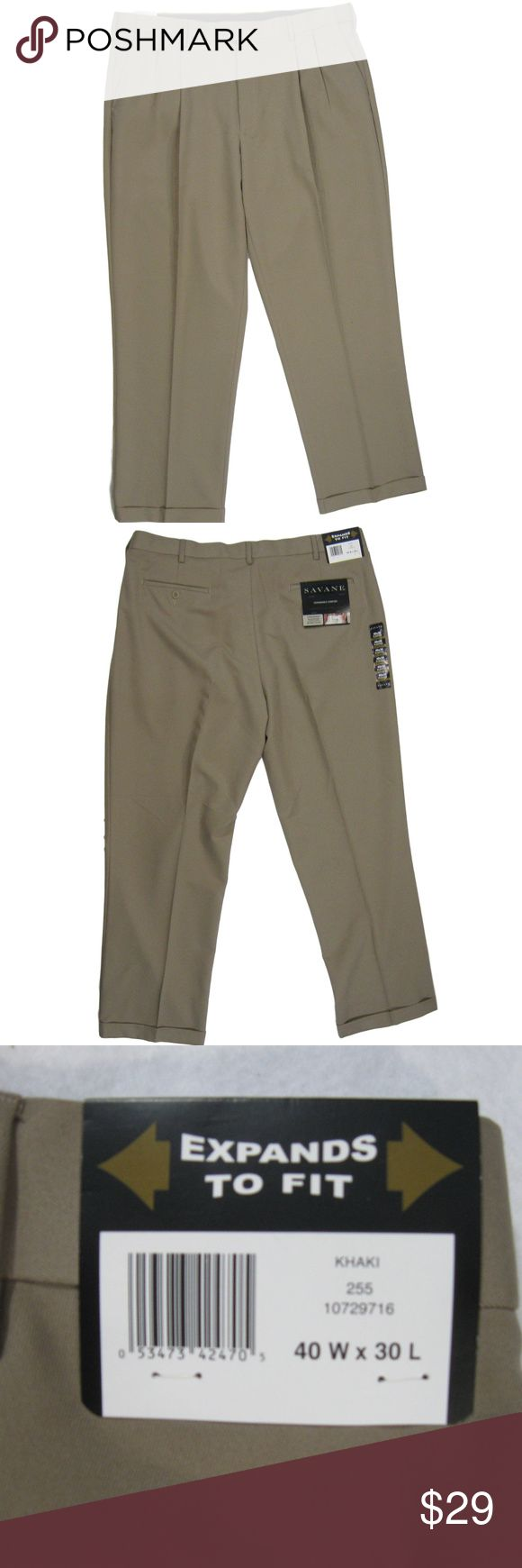 """Savane Mens Expandable Waistband Pants Khaki 40-30 Up for sale is a pair of Savane Mens Expandable Waistband Double Pleated Pants Khaki Size 40-30 with Cuffs.  Please see below for measurements and other details.  Pants are new with tags. Measurements (laying flat) Inseam Measurement Approx. 30.25"""" Front Rise Measurement Approx. 12.5"""" Leg Opening Measurement  Approx. 9"""" Waist Approx. 20"""" Wrinkle Free Stain Release Double Pleat Machine Washable 100% Polyester savane Pants Dress"""