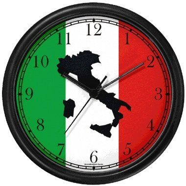 Special Offers - Map of Italy (Black) on Flag of Italy Italy Theme Wall Clock by WatchBuddy Timepieces (Black Frame) - In stock & Free Shipping. You can save more money! Check It (June 26 2016 at 08:00PM) >> http://wallclockusa.net/map-of-italy-black-on-flag-of-italy-italy-theme-wall-clock-by-watchbuddy-timepieces-black-frame/
