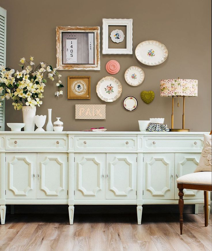 This mint green buffet, created with a custom Chalk Paint® color mix, is a true conversation-starter. Annie Sloan Stockist Tania Trudel of Quebec, Canada's Aube Creations, created the piece. It's a mix of Old White with Provence and English Yellow followed by Clear Chalk Paint® Wax. Photo by Marie-Ève Rompré Photography.
