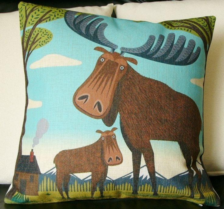 Modern Moose Pillow : Ivaleegifts - Designer Cushion cartoon moose print burlap throw pillow, $34.95 (http://www ...