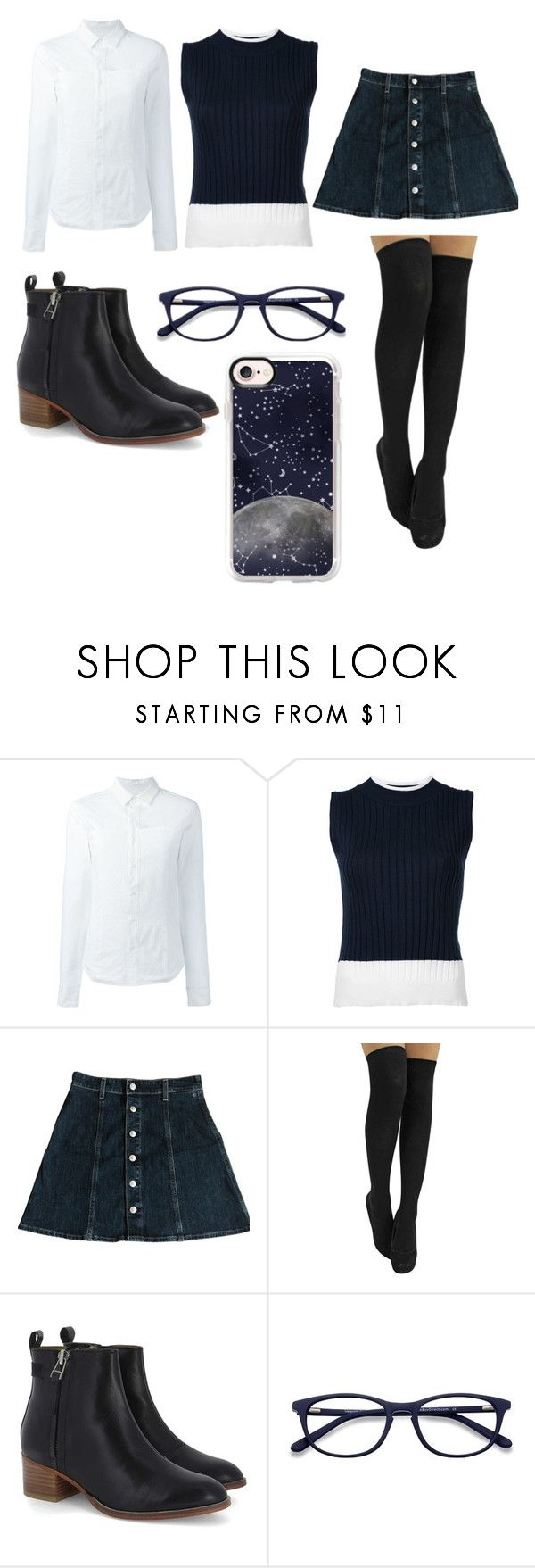 """""""Geek sheak"""" by kayla-allaire on Polyvore featuring A.F. Vandevorst, Loveless, AG Adriano Goldschmied, EyeBuyDirect.com and Casetify"""