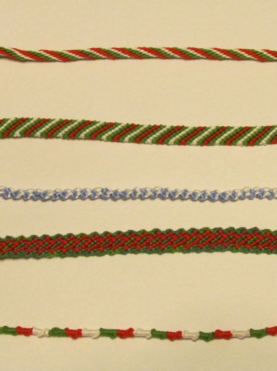 This is a set of beautiful Christmas themed bracelet perfect for the season. This Collection includes (From the top to the bottom):  12- strand kumihimo- Red, White, and Green Candy Stripe- Green, White, Green, and Red  Knotted Bracelet- White and Light Blue  Link- Green on the outside and Red on the inside  Chinese Staircase- Green. Red, and White  Each bracelet will fit 7.5 in -9 in wrist  Please enjoy this bracelet set, and have a Merry Christmas!   Do you only want 2, 3, or 4 of the…