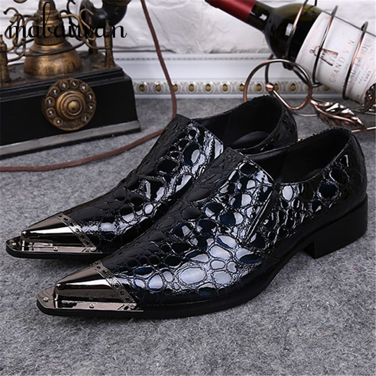 82.60$  Buy here - http://ali2ng.worldwells.pw/go.php?t=32697637646 - Luxury Metal Pointed Toe Men Dress Shoes Oxfords Business Wedding Leather Shoes Mens Slip On Flats Creepers