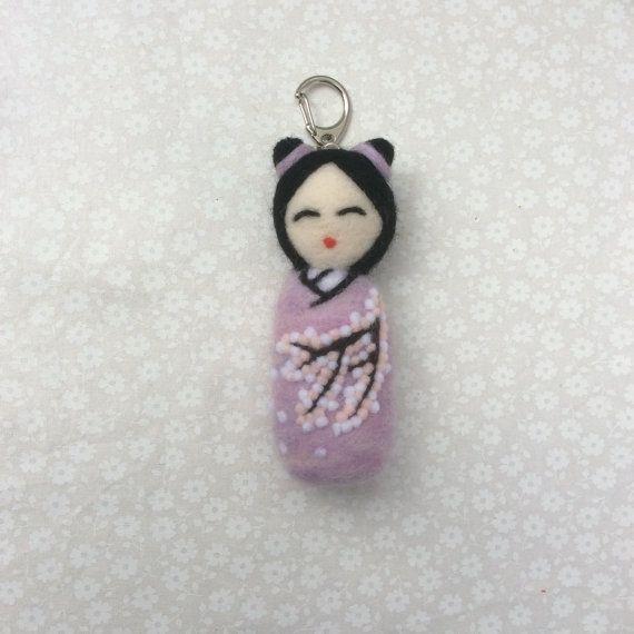 Sakura Needle felted kokeshi doll keyring. Purple by SweetPeaDolls