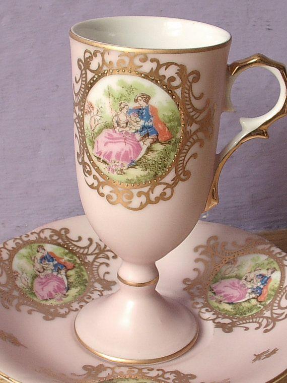 Vintage Lefton French Victorian couple tea cup and saucer set, pale pink tea cup, porcelain tea set, pink