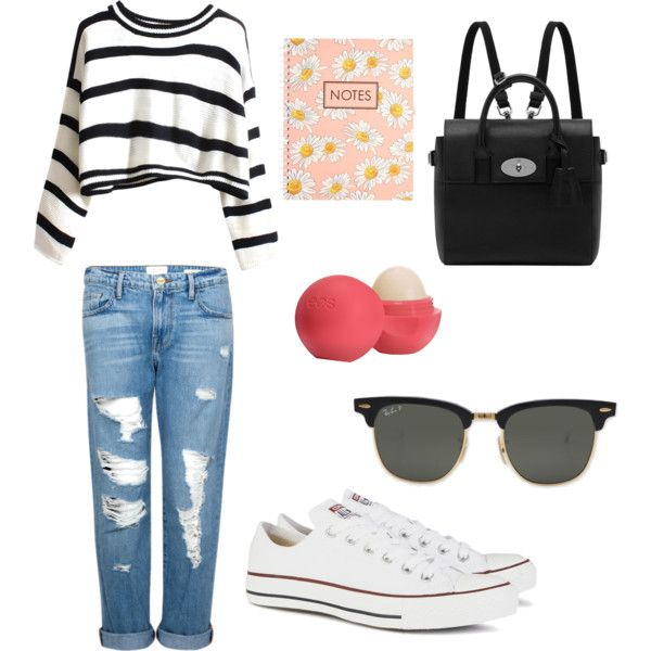 Journaling by bambyee on Polyvore featuring polyvore, fashion, style, Frame Denim, Converse, Mulberry, Ray-Ban and Eos