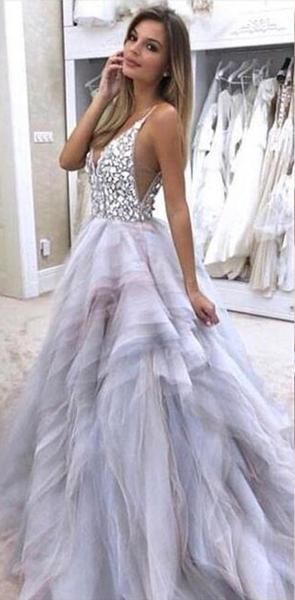 Charming Sparkly Gorgeous Modest Open Back Rhinstones Prom Dresses online, evening dresses, PD0908 – SposaBridal