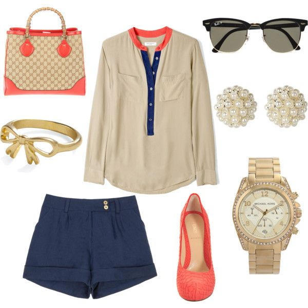 : Fashion, Style, Purse, Cute Outfits, Navy Coral, Summer Outfits, Coral Navy, Spring Outfits, Shirt