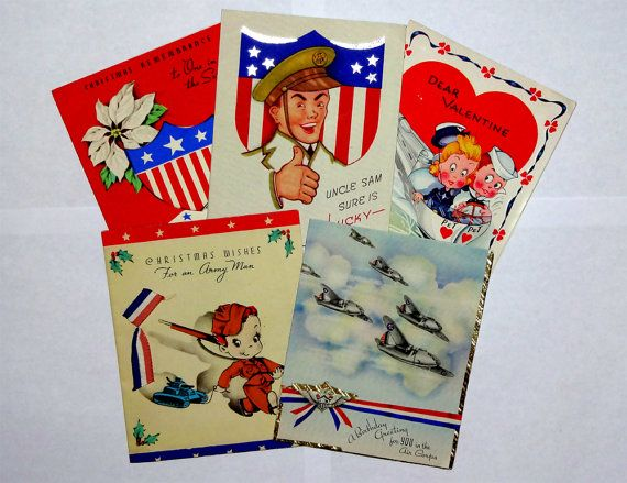 5 Patriotic Military Holiday Greeting Card Lot, Army Air Force Navy, WWII-era World War 2, Men Boys Soldiers Sailors Flags Stars Stripes Patriotic, Vintage c1940s, OakwoodView, $15.00