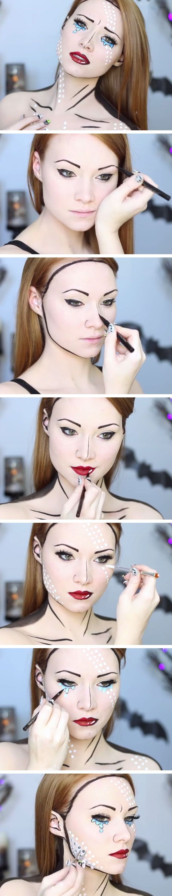 Comic Book Makeup Tutorial | Click Pic for 18 Easy DIY Halloween Costumes for…