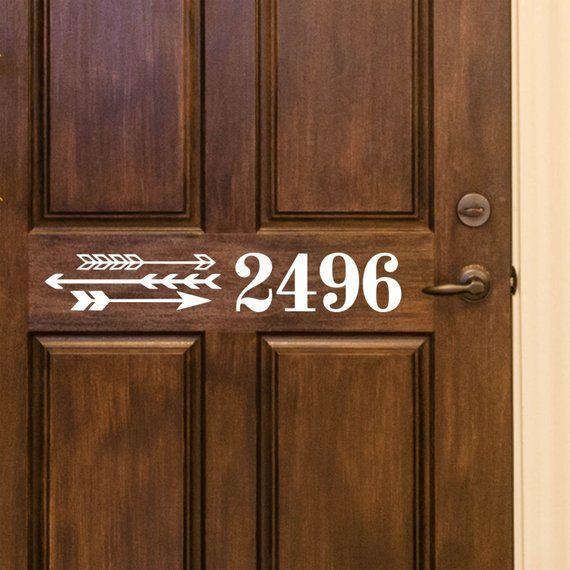 Custom House Number Vinyl Door Decal