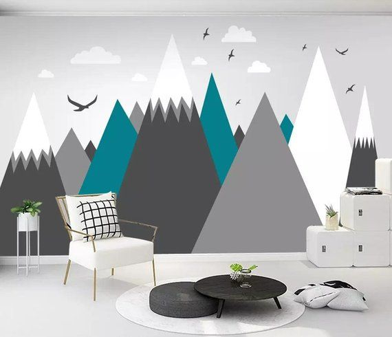 Hand Painted Geometric Mountains Wallpaper Wall Mural, Grey Geometry Abstract Mountain with Birds Geometric Wall Mural Wall Decor