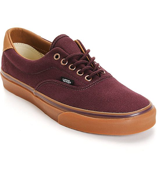 Accent your outfits with an eye-catching wine canvas upper with brown leather detailing and a gum rubber vulcanized outsole for flexible grip.