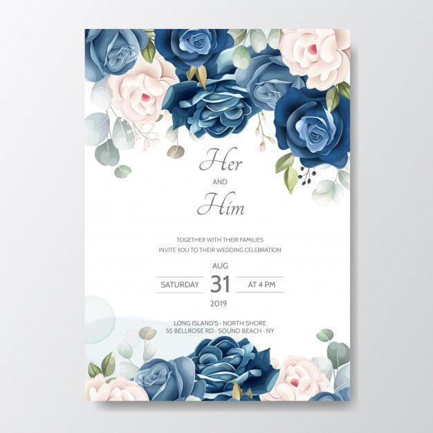 Hand Drawn Floral Wedding Invitation Card Floral Wedding Invitations Wedding Invitation Cards Wedding Invitations