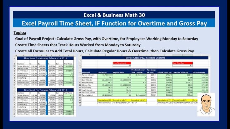 Excel & Business Math 30 Payroll Time Sheets IF Function