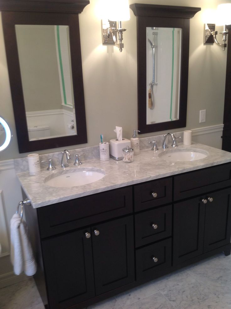 Marble Vanity Top With Expresso Colour Vanity Bathroom