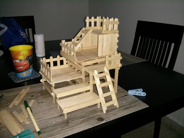 Popsicle sticks House by Lilly Yuen, via Behance