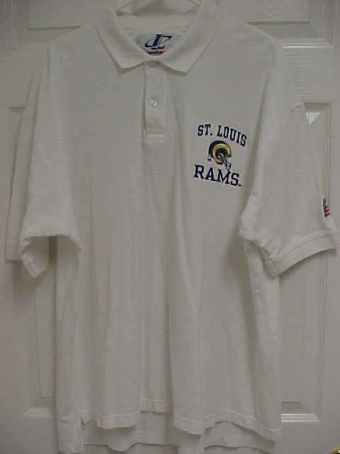 c81d4a782 ST LOUIS RAMS Men White Short Sleeve Embroidered Polo Shirt XL Logo  Athletic #LogoAthletic #StLouisRams
