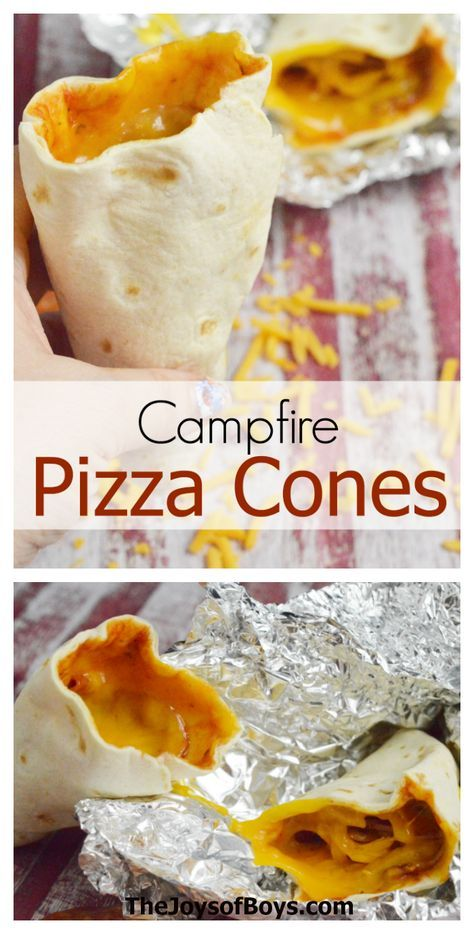 Who says you can't have pizza while camping? I can't wait to make this campfire pizza cone recipe on our next camping trip!
