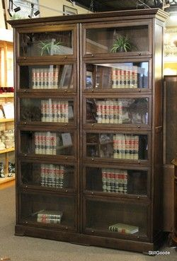 Very tall double barrister style bookcase with 12 sliding door shelves.  This piece breaks into 4 pieces for moving. #OnTheShowroomFloor #Tall #Barrister #Bookcase #StillGoode