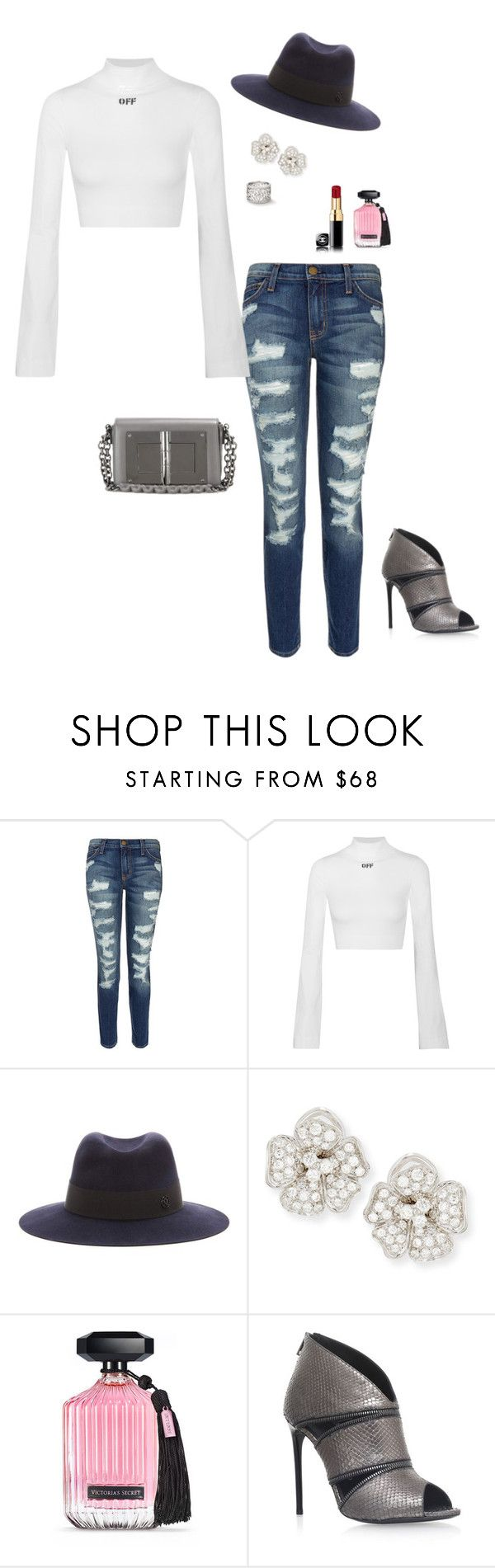"""""""Untitled #3248"""" by janglin725 ❤ liked on Polyvore featuring Current/Elliott, Off-White, Maison Michel, Leo Pizzo, Victoria's Secret and Tom Ford"""