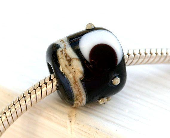 Crescent Moon, black charm bead, Black Large hole bead, European glass bracelet bead, Artisan lampwork, Moon bead, SRA by MayaHoney by MayaHoneyJewelry on Etsy