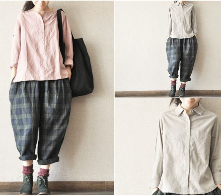 Image of Pure Linen Blackish Green Plaid Pants Women Trousers Causel Clothes