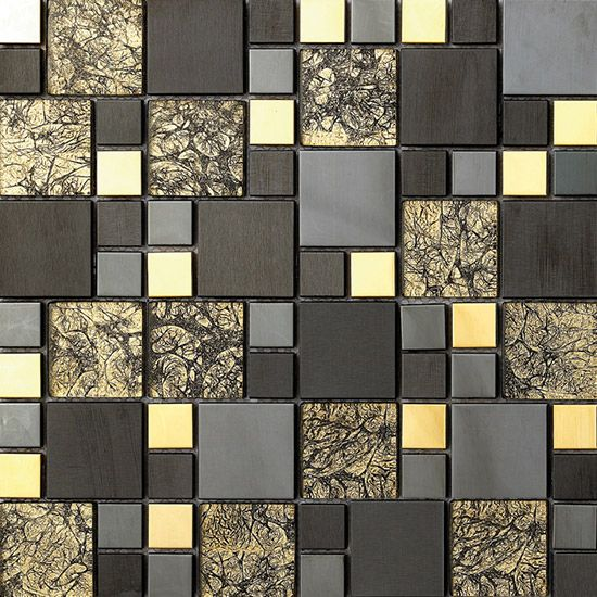 Gold Foil Mix Black ,Silver and Gold Color Stainless Steel Mosaic Tiles www.cpmosaic.com