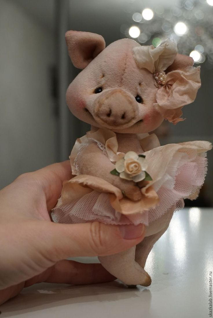 Купить Piglet - кремовый, свинка, поросенок, девочка, тедди, авторский, коллекционный, милый, макарова виктория