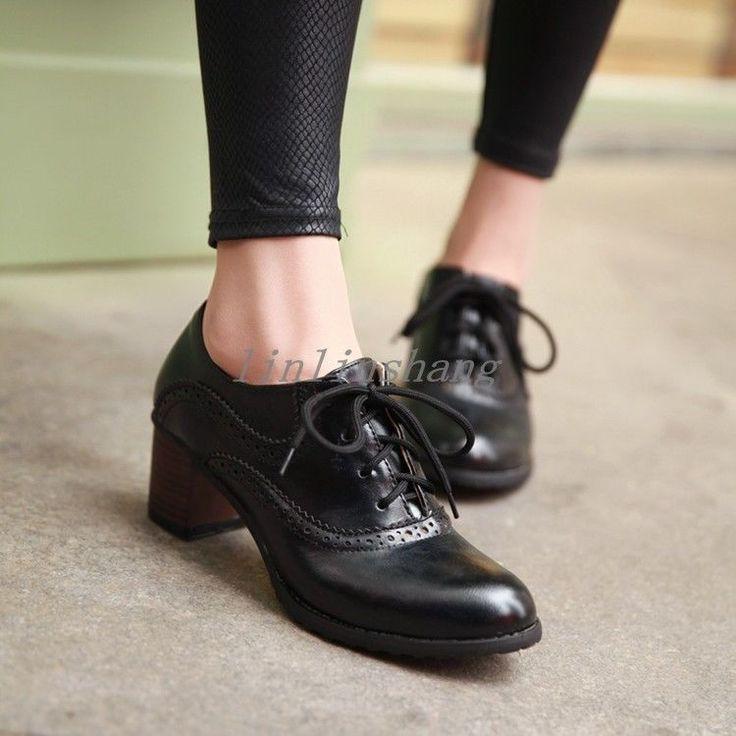 Mulheres Brogue sapatos atado meados bloco Chunky calcanhar dedo do pé redondo sapatos de couro PU   – thoughts