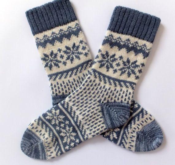 Classic Scandinavian Wool Socks with patterns. Women and Men wool socks. Gray wool socks. Warm socks. Leg warmer