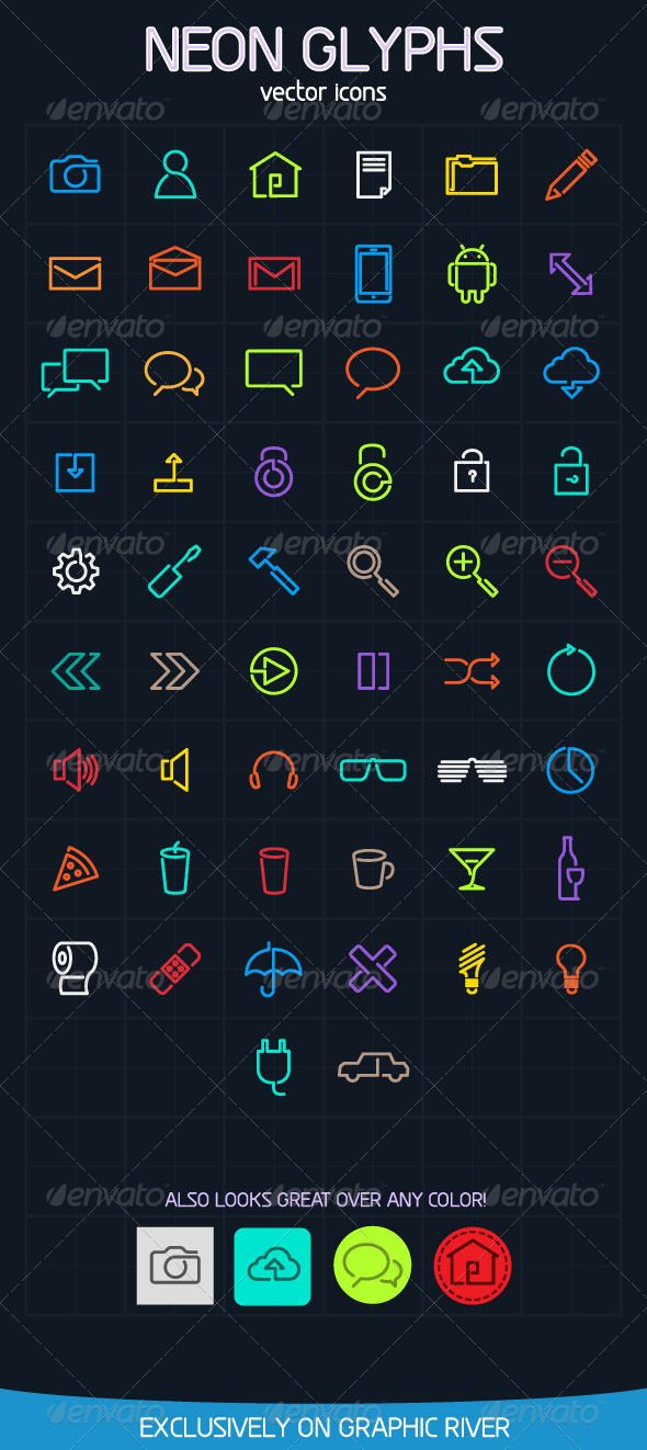 Neon Glyph Vector icons – GraphicRiver Item for Sale
