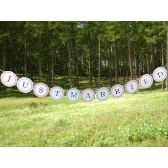 結婚式 ガーランド ウエディング パーティー JUST MARRIED ウエディング グッズ 結婚式 アイテム ウェディング アイテム フォト ステッカー バナー サークル