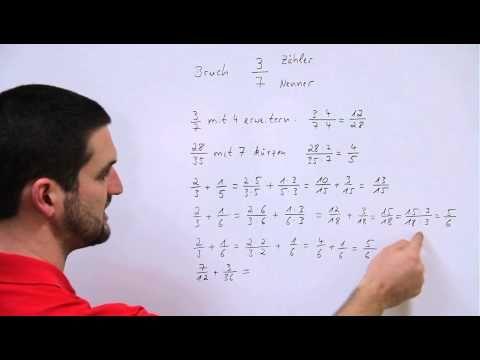 Grundlagen Bruchrechnung, Brüche addieren, erweitern, kürzen, Hilfe in Mathe, einfach erklärt - YouTube