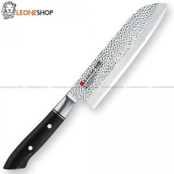 "Chef Knife Santoku KASUMI Japan, professional japanese knives Kasumi with heart of the blade in V-GOLD No. 10 Stainless Steel High Carbon - Hardness on the edge HRC 59/60 - Outside are made of 401 stainless steel Hammered KASUMI H.M. Hammer Design which creates a non-stick effect - Blade lenght 7.1"" - The VG10 steel is highly resistant to oxidation, has a high hardness and therefore makes the cutting edge of the knife really exceptional - Handle made of black POM hand."