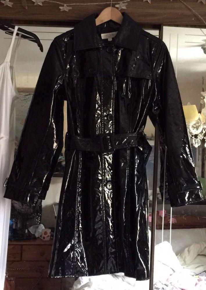 Edina Ronay sz.12 shiny pvc patent mac coat rain coat stylish!  | eBay
