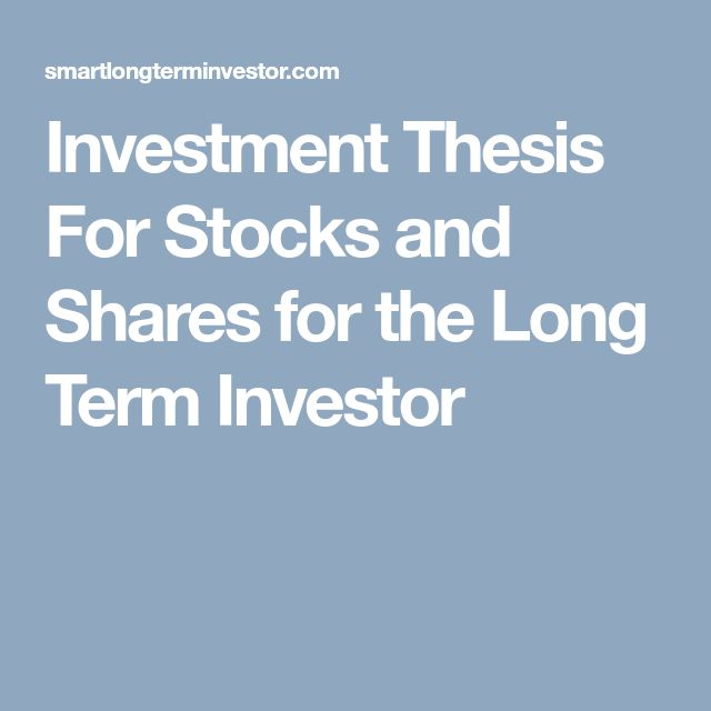 Investment Thesis For Stocks and Shares for the Long Term Investor