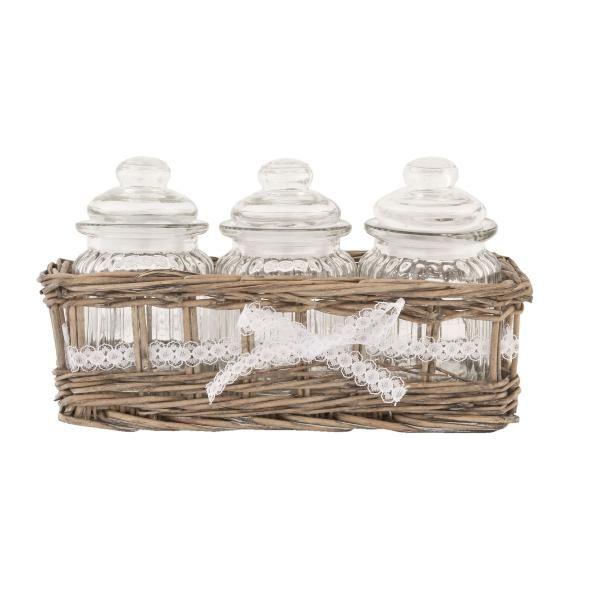 Clayre-Eef   Tischkorb   mit 3 Gläsern