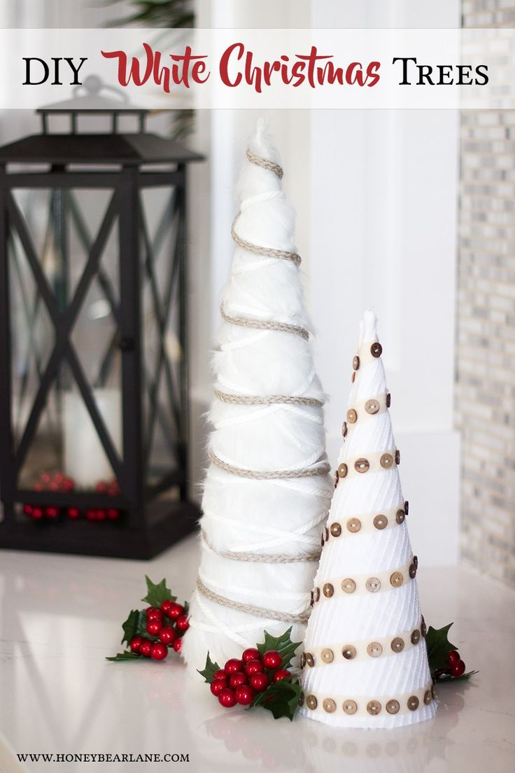 White christmas decorations to make - Diy White Farmhouse Christmas Trees Holiday Craft