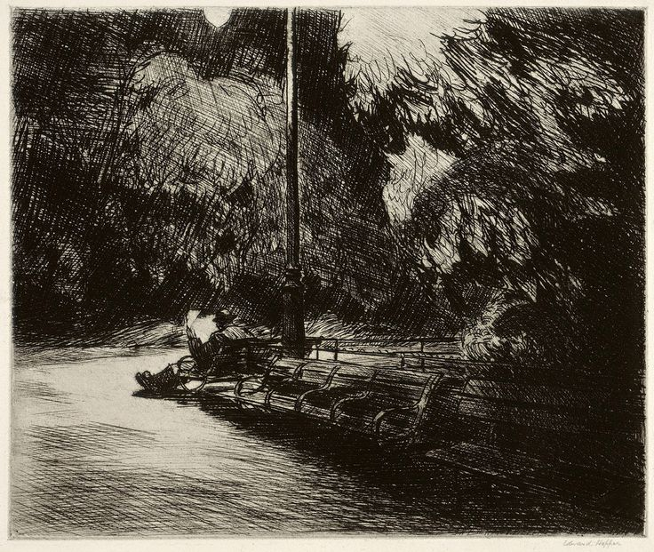 """Edward Hopper, """"Night in the park,"""" Etching 1921"""