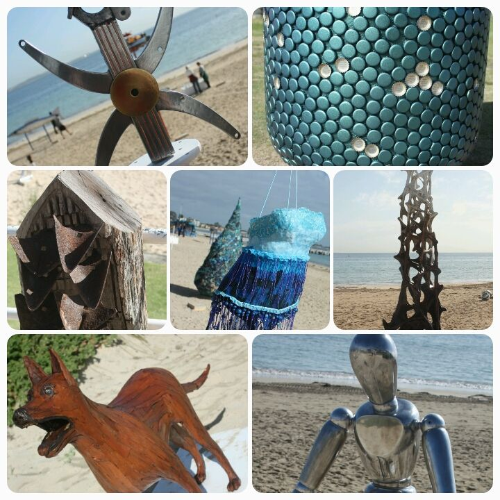 Top row L2R: Lugh(Lu) by Grahame Roddis, For the LOVE of Sculpture by Claire Davenhall Middle Row L2R: Ploughman's Lunch by Leslie Barrett, (Foreground picture) Swimwear for the dedicated Ocean Swimmer by Christine Morton (Backround picture) A drop in the Ocean by Joyce Tasma, Tower by John Grono Bottom Row L2R: Bark by Richard Aitken, Self-Reflection by Vaugh Bisschops