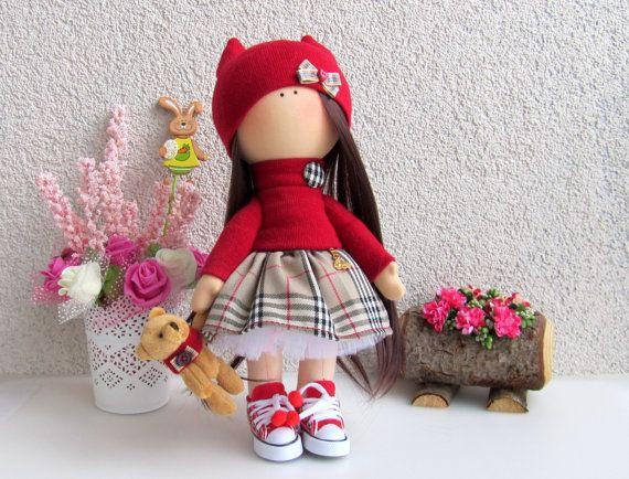 Scottish Doll-Handmade Doll-Fabric Doll-Rag Doll-Textile Doll-Handmade Doll-Home Decoration Doll-Interior Doll-Cloth Doll-Doll plush bear