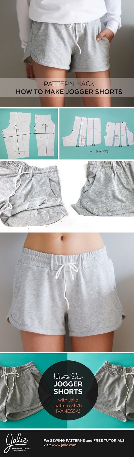 Jalie Sewing Patterns - News, Info and Ideas: Vanessa Jogger Shorts // Pattern Hack (Jalie 3676)